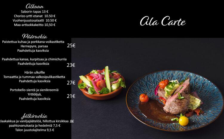 4.5. alkaen Ala Carte keittiömme on avoinna tiistaista – lauantaihin klo 17 – 22.00