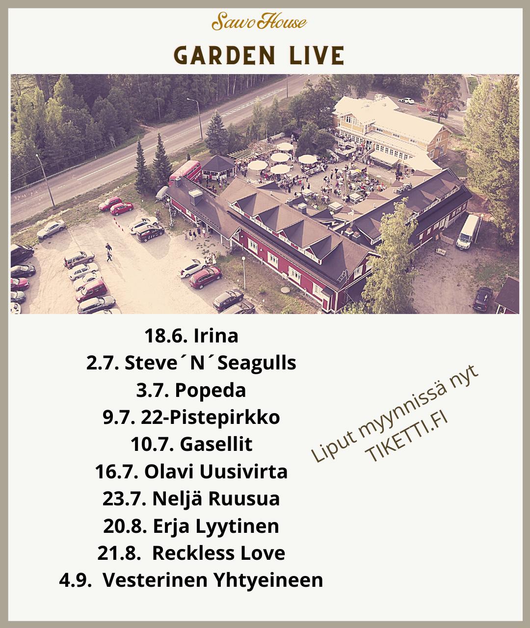 Gardenlive keikkajuliste, jossa esiintyvien artistien keikka-aikataulut