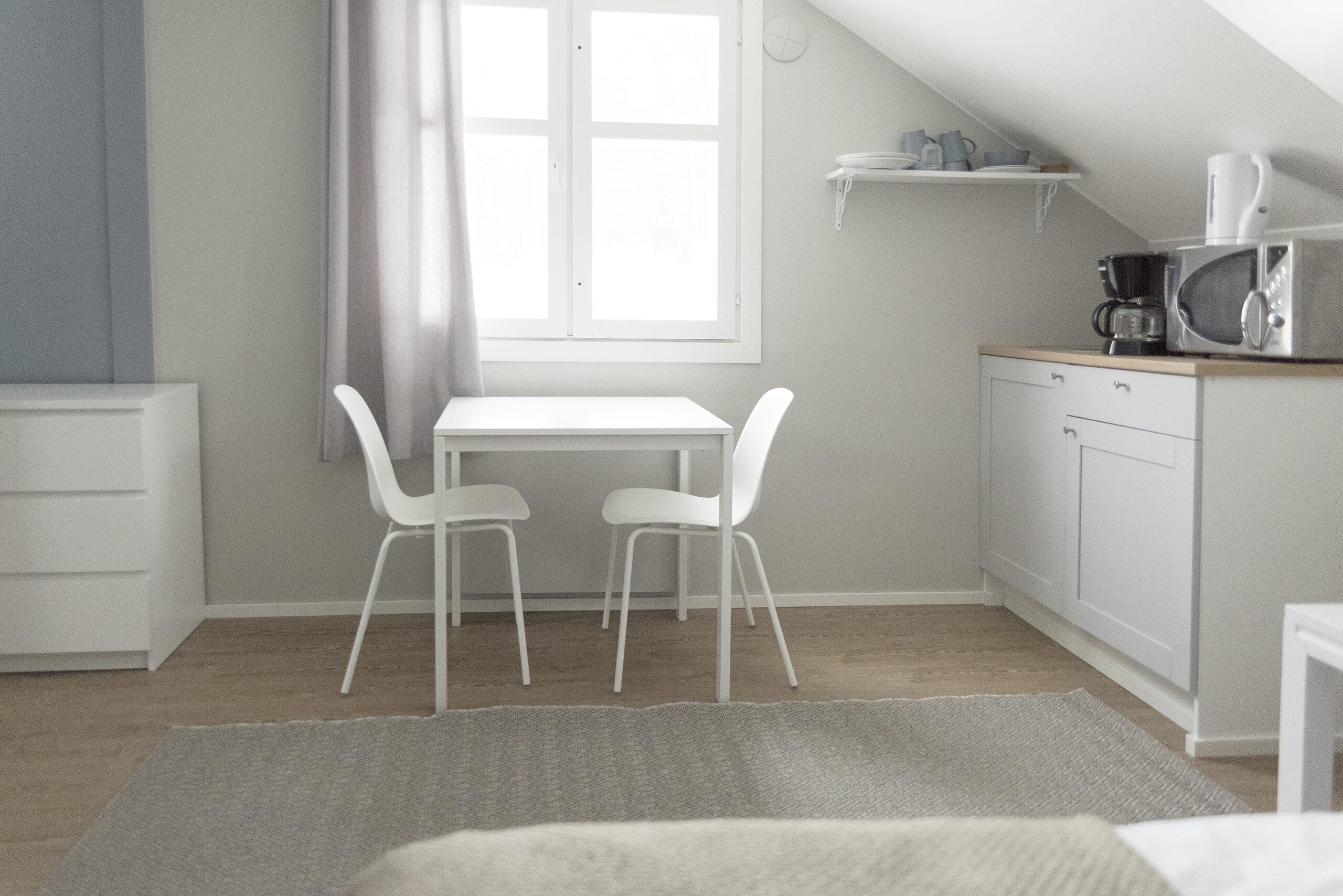 yhden hengen hotellihuone, jossa pieni minikeittiö pöytä ja kaksi tuolia