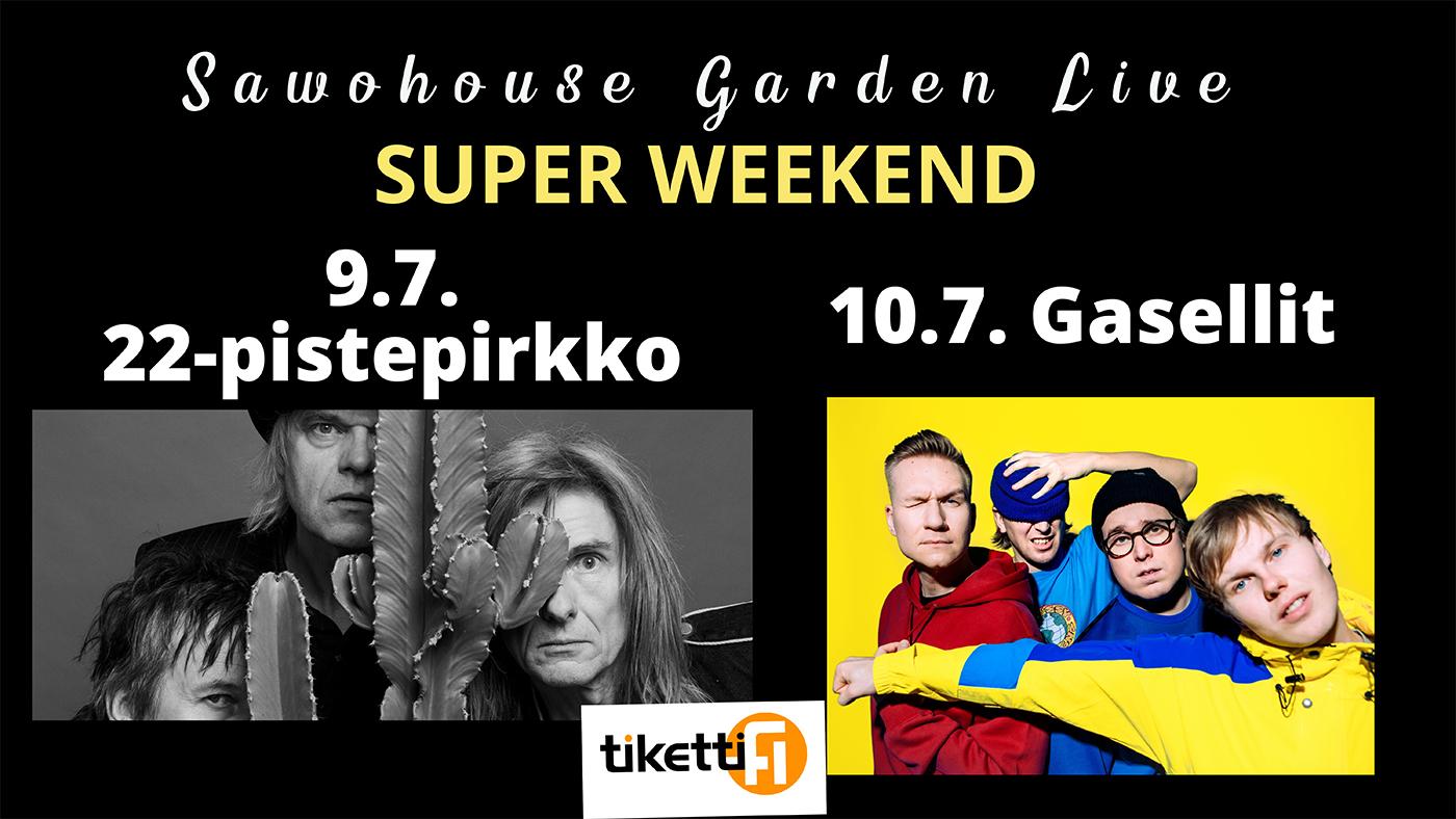 Super viikonlopun mainos 22-pistepirkon ja Gasellien keikasta, kuva bändeistä